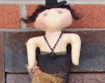 Primitive Witch Doll Pattern,  Witch in Boot, Witch boots pattern, HFTH130