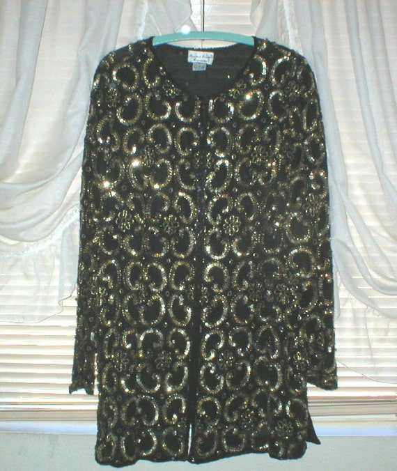 Beaded Sequin Jacket Gold Plus Size 20