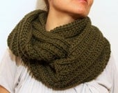 Winter Accessories / Infinity Cowl Scarf / Snood / Dark Olive Green / Hand Knitted Chunky Scarf / Circle Scarf / Loop