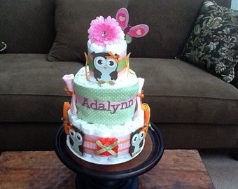 Owl Diaper Cake Woodland Baby Shower Centerpiece IT IS A HOOT other colors  and sizes too