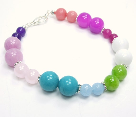 Confetti Collection-Colorful Beaded Bracelet Pink Blue Green Multicolor Round Layer Agate Gemstone Bright Colorful Silver Bracelet