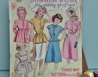 Vintage Sewing Patterns Catalog 1940s Leach-Way Summer Wear for children of all ages No. 264 40s childrens clothing bridesmaids dresses etc