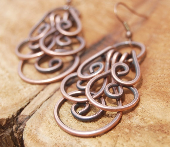 Large. Copper. Oxidized. Spiral. Cluster. Earrings.