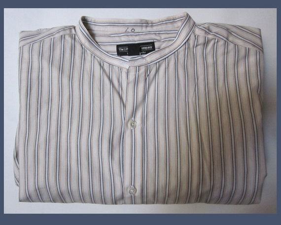 Gatsby Collarless Striped Shirtj Petermanwhite Blue Orange