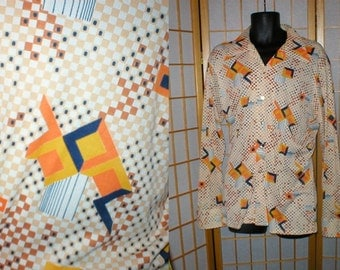 Vintage 70s abstract knit  disco shirt mens size xlarge