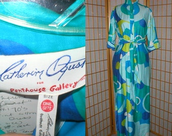 Vintage 70s psychedelic maxi tunic dress by Catherine Ogust womens size medium / large