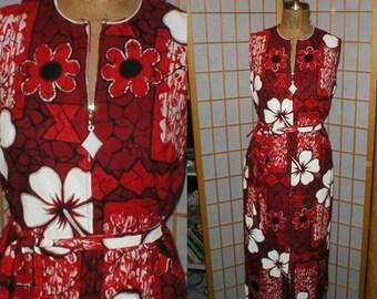 VTG 70s Hawaiian bark cloth dress  size large