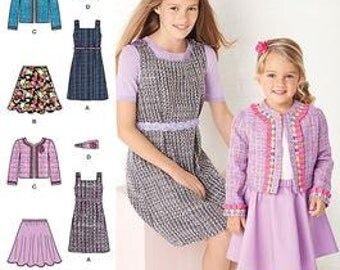 SALE / CLOTHES PATTERN / Make Girls Jumper - Skirt - Jacket - Headband / Sizes 3 to 6 Or 7 To 14