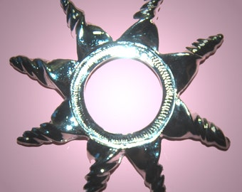 Vintage 1 HUGE Silver Plated Starburst Settings 71MM   GR7