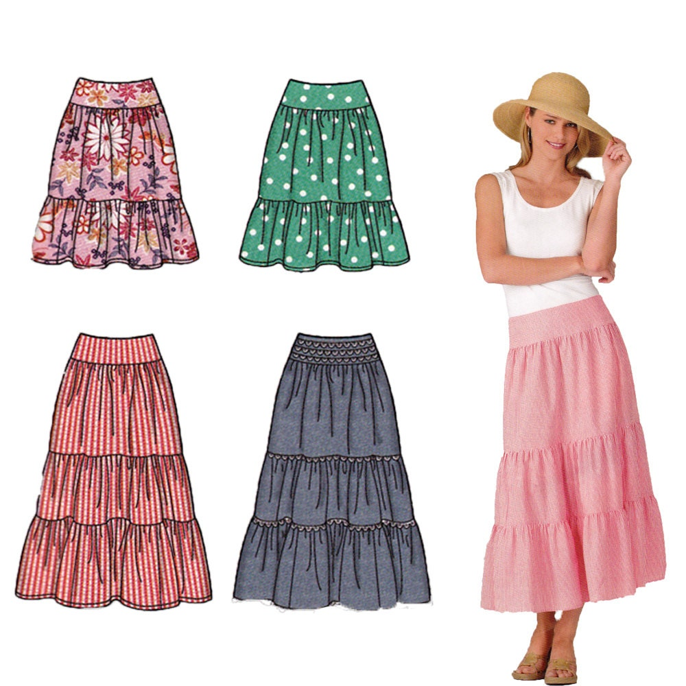 womens tiered skirt sewing pattern easy summer skirt pattern