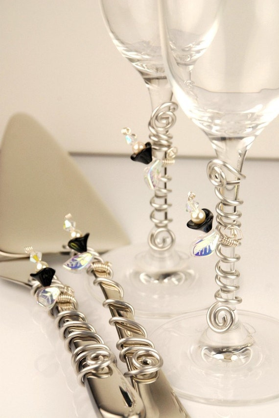 black wedding cake serving set complete set wedding cake serving set and flutes embellished 11883