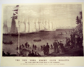 1942 Currier and Ives print, Vintage Mississippi River Boats and New York Yacht Club, vintage art, wall decor