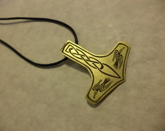Etched brass Thor's Hammer pendant