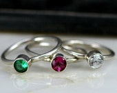 Birthstone Stacking Rings - Sapphire Ring - Alexandrite Ring - Eco Freiendly 5mm Lab Created Rings