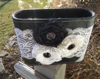 Black and White Faux Leather Basket