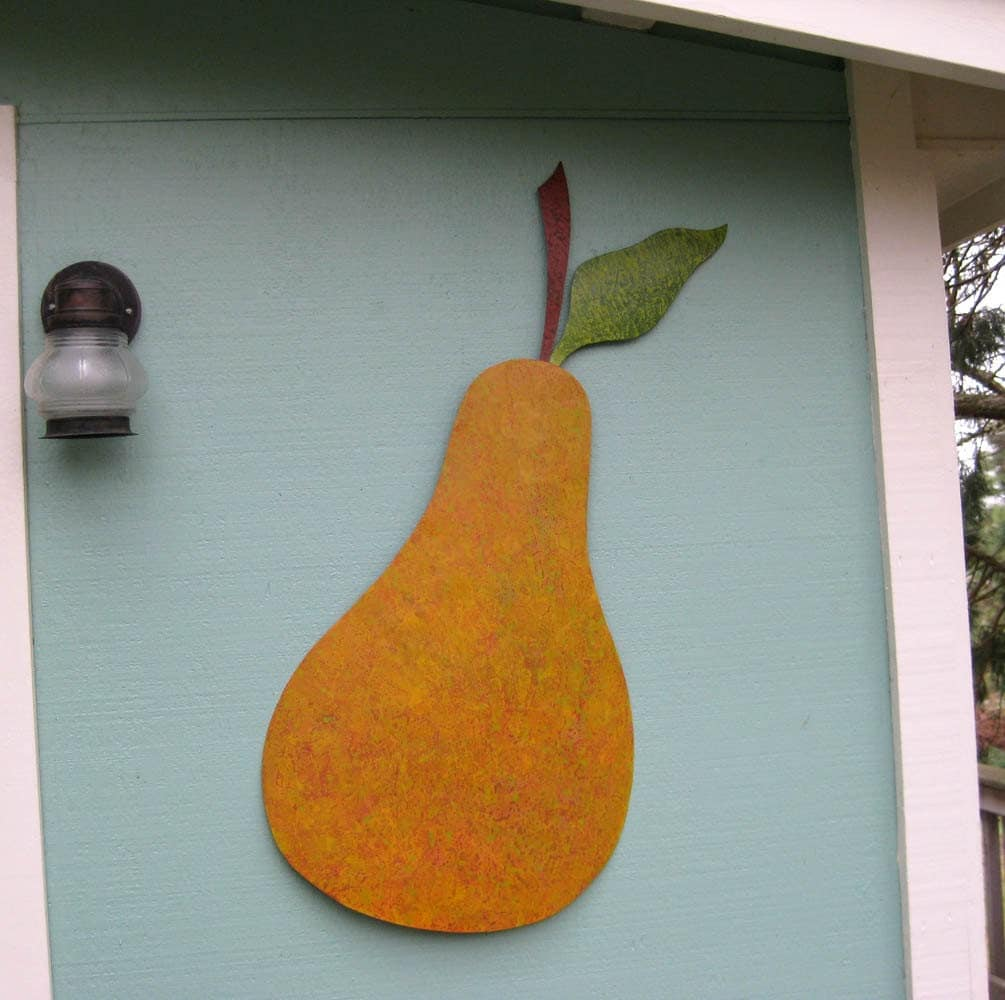 metal wall art sculpture pear extra large wall sculpture. Black Bedroom Furniture Sets. Home Design Ideas