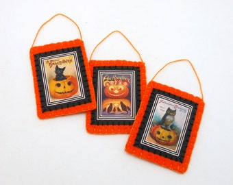 3 Halloween Ornaments with Reproduction Vintage Postcard Images