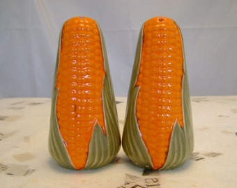 Vintage Retro Orange and Green Corn Cob Salt and Pepper Shakers