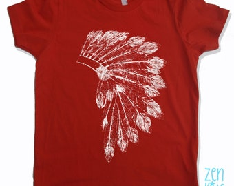 Kids Tee Native American HEADDRESS Shirt - American Apparel Sizes 2 4 6 8 10 12 (9 Colors) - FREE Shipping