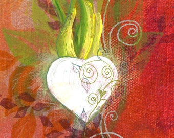 Valentines White Heart Vines Hand Painted Vermont Greeting Card