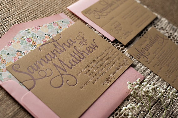 Wedding Invites Letterpress: Rustic Calligraphy Letterpress Wedding Invitation SAMPLE