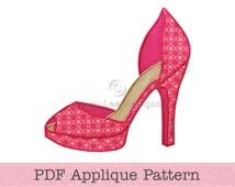 High Heel Shoe Applique Pattern Fancy Shoes Template Instant Download PDF Applique Design
