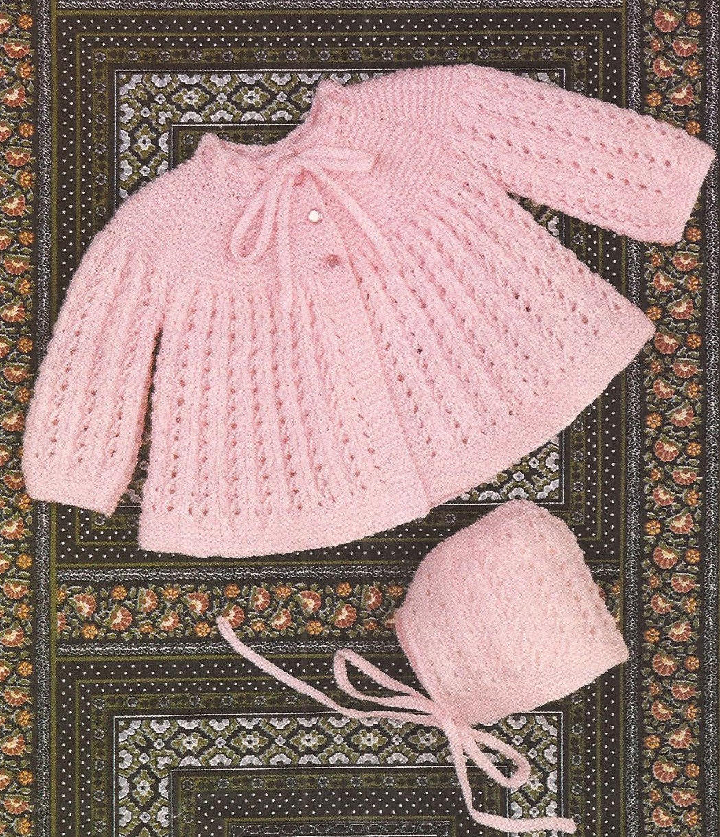 PDF Vintage Knitting Pattern Baby Matinee Coat and Bonnet