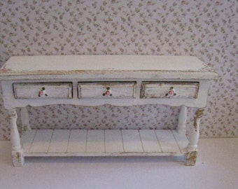 Dollhouse sideboard, Tatty  chic,  hand  painted with rose bouquets, twelfth scale miniature