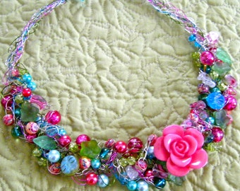 Garden Party Crocheted Wire Necklace