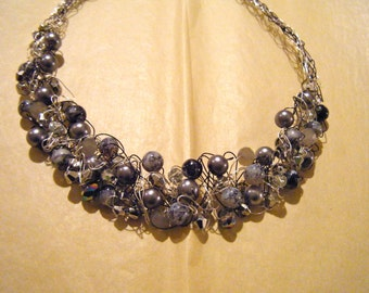 Sweet Petite Crocheted Wire Necklace-Glitzy Gray