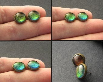 Color Shifting Rainbow Post Earrings Antiqued Brass Steampunk Boho Hypoallergenic Stud Earrings