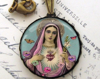 Sacred Heart Pendant Necklace Antiqued Brass Pink Blue Butterflies