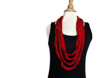 Crochet infinity scarf necklace - crochet necklace - lightweight cowl - red cowl - red necklace - infinity loop scarf - ready to ship