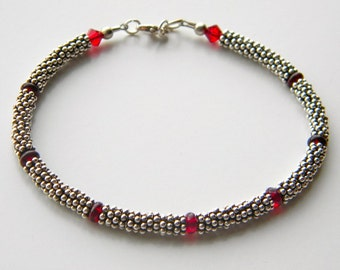 Black Cherry Glass and Sterling Bracelet