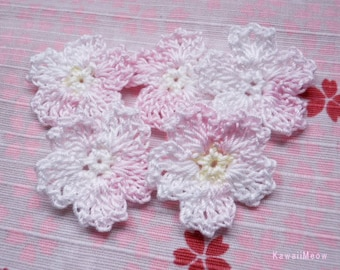 Crochet Applique Motif Flowers Set of 5 Sakura Cherry Blossoms (C)