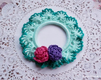 Crocheted Scrunchie Mint  Frill Roses