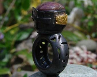 Zen Stone Ring  Big Heavy  Ruby Star Ring