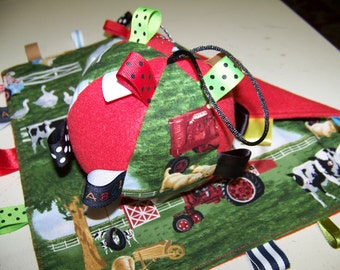 """Tag ball and Baby Blanket Handmade with Case/ IH fabric with Rattle Ball is 5"""" Dia. Yellow and Green SALE"""
