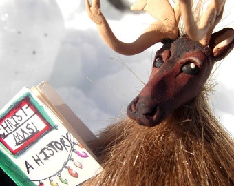 The Intellectual Reindeer- OOAK Original Artist Doll