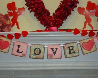 Valentines Day Sign-Love Banner-Valentine Banner-Vintage Love Sign-Heart Banner-Valentines Garland-Love Sign-Valentine Gift-Valentines Gifts