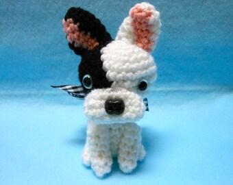 Petite French Bulldog Crochet Dog in Black and White Yarn, Canine, Amigurumi, Stuffed Animal, Frenchie, Stuffed Dog