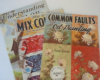 3 Vintage How to Art Books Mixing Color Oil Painting Walter Foster
