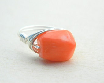 Bamboo Coral Ring, Coral Ring, Light Orange Melon Ring, Peach Ring, Pastel Coral Ring, Silver Ring, Jewelry Rings, Cocktail Rings, To Order