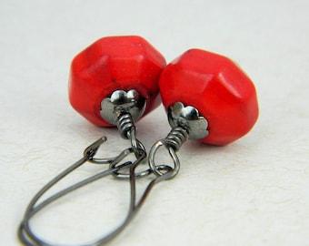 Red Earrings - Vintage Look - Red Gemstone, Red Turquoise, Rustic, Antiqued, Gun Metal, Old look, Love, Oxblood, Jewelry Earrings, Jewelry