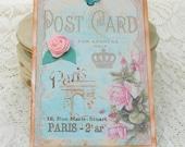 Tags Gift Hang Bridal Favor Shabby French  Ribbon Rose PARIS POSTCARD Bridal Shower Handmade  Set of 5 Handmade by Enchanted Quilling
