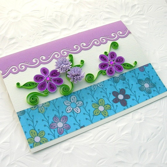 Paper Quilling Greeting Card Paper Quilled Purple Rhinestone Daisies Birthday Congratulations Handmade by Enchanted Quilling