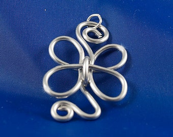 Butterfly  Clover Swirl Pendant Aluminum Anodized - Choose your own Color