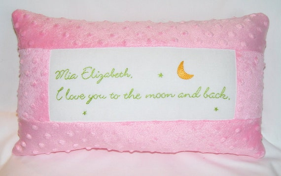 I love you to the moon and back - minky dimple dot - hand embroidered - choose your color  - personalize it