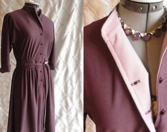 70s Dress // Vintage 1970s Plum and Lavender Dress by Bleeker Petites Bleeker Street Size S