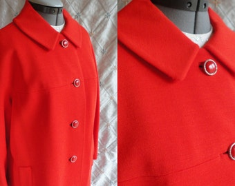 50s Coat // 60s Coat // Vintage 50s 60s Red Orange Wool Coat Maison Mendessolle Size L